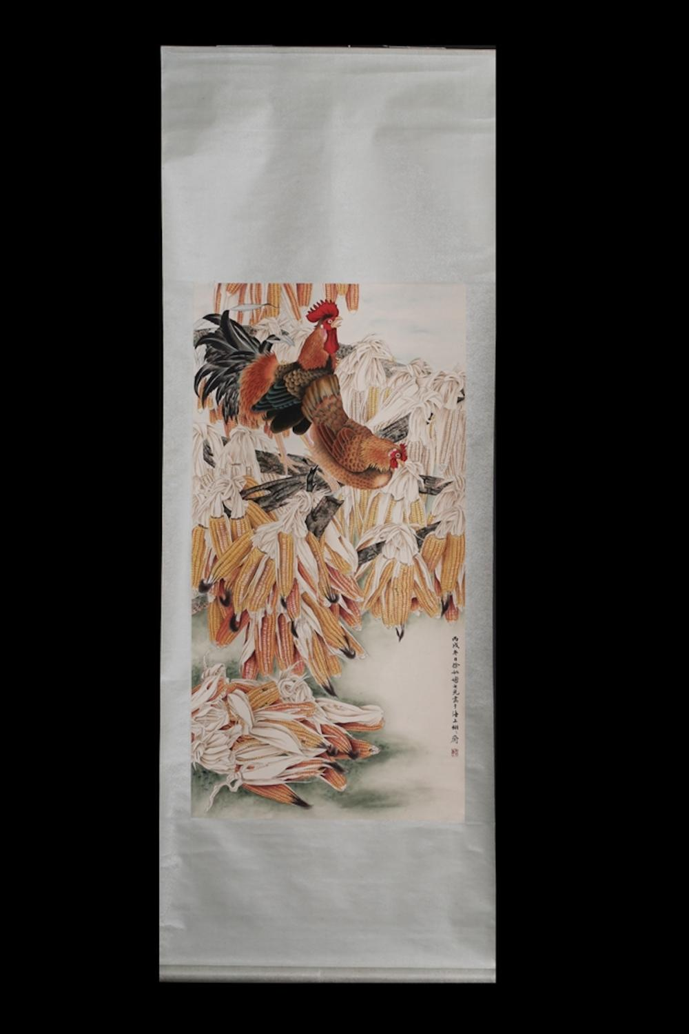 CHINESE INK AND COLOR SCROLL PAINTING OF ROOSTER