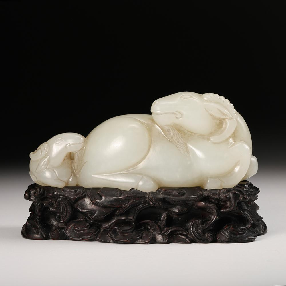 CHINESE WHITE JADE RAM GROUP WITH STAND