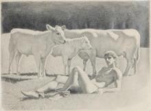 David Ligare, (American, b. 1945), Hermes and the Cattle of Apollo, pencil drawing, 9 x 12in (23 x 30.5cm)