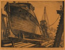 Paul Alexander Goranson, (Canadian, 1911-2002), On the Ways, 1936, etching, 7 1/2 x 9 3/4in (19 x 25cm)