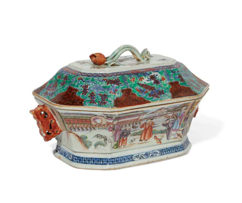 A Chinese Export Famille Rose porcelain 'clobbered' tureen
