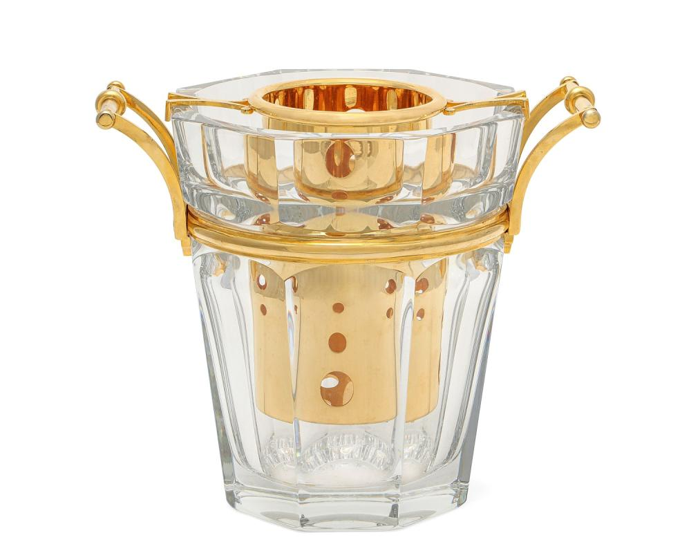 A Baccarat gilt bronze and cut glass Moulin Rouge wine cooler, 20th century