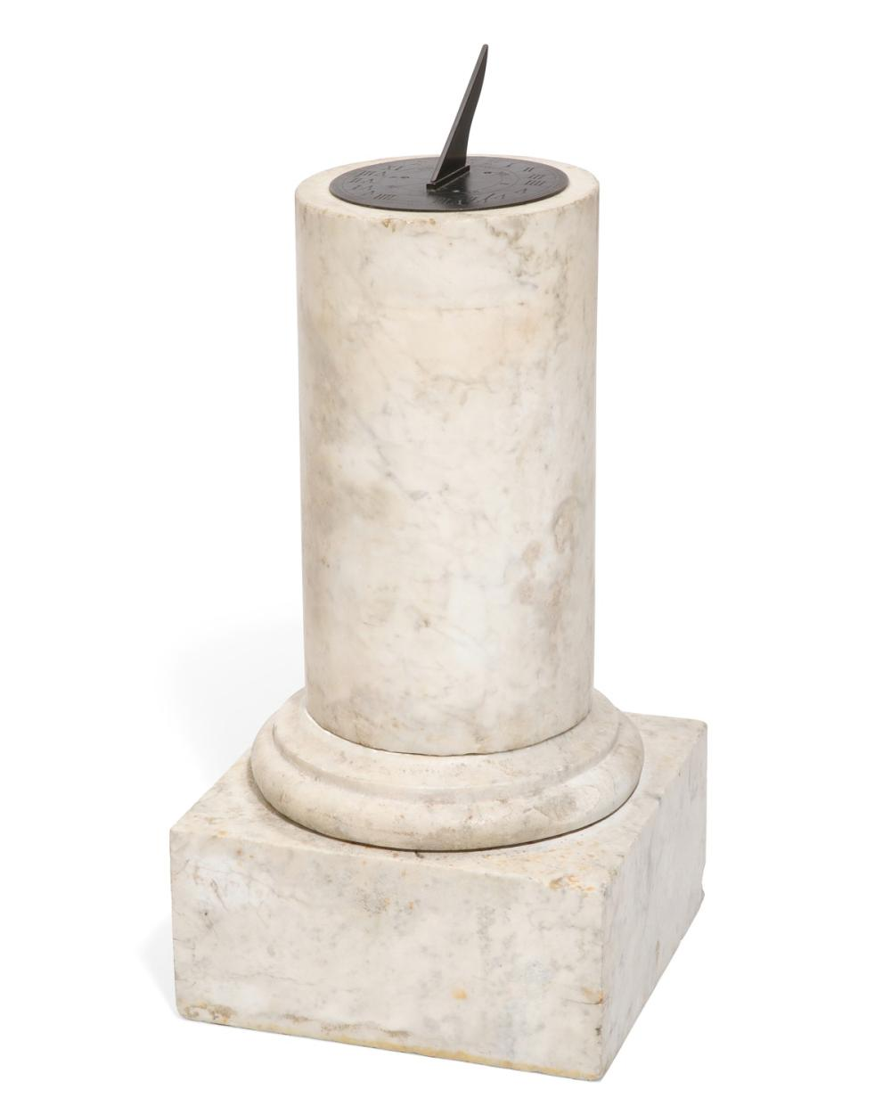 An English patinated bronze and variegated white marble sundial, William & Frederick Newton, London, mid 19th century