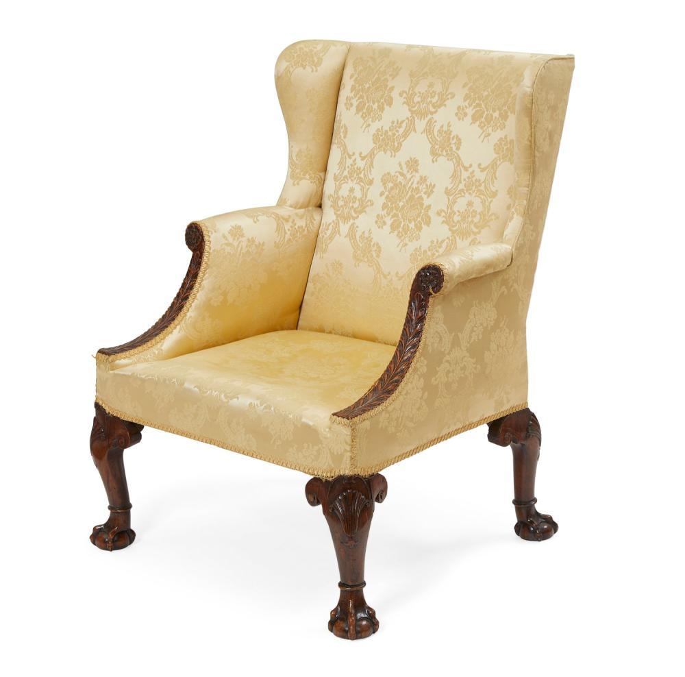 A George II walnut wing armchair, probably Irish, mid 18th century