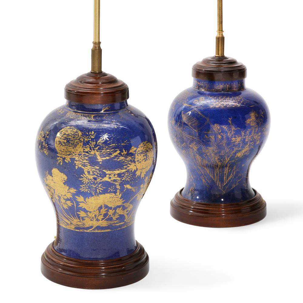 Two Chinese gilt decorated blue porcelain covered jars now as lamps