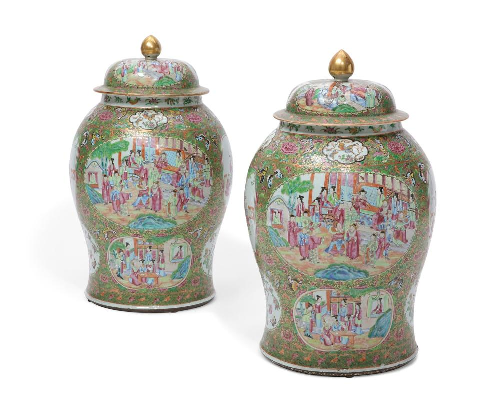 A pair of large Chinese Export Famille Rose Medallion porcelain covered jars