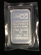1 tr. oz .999 Fine Silver Art Bar Johnson Matthey Assayers & Refiners Sealed