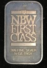1/2 tr.oz .999 Fine Silver NBW First Class Art Bar Nice Dark Toning