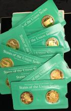 Set of 25 State of The Union Series Franklin Mint Medals 24 Kt. Gold on Sterling