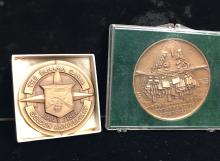 Set of 2 Medals Bronze 1758-1958 Pittsburgh Bicentennial & The Panama Canal Golden Anniversary