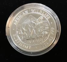 2006 Somali Republic 100 Shillings African WildLife Elephant 1 oz Silver
