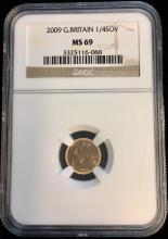 2009 Gr. Britain 1/4 Sovereign NGC MS69 KM #1117