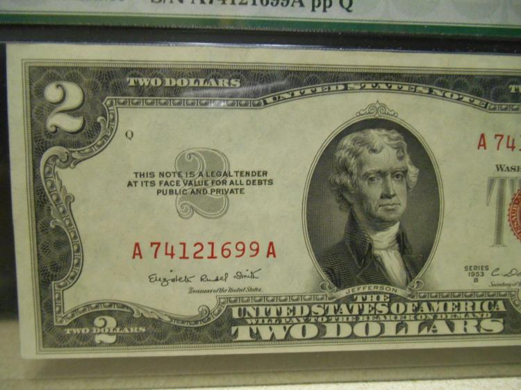 1953 B $2 Legal Tender Notes Fr 1511 Uncirculated