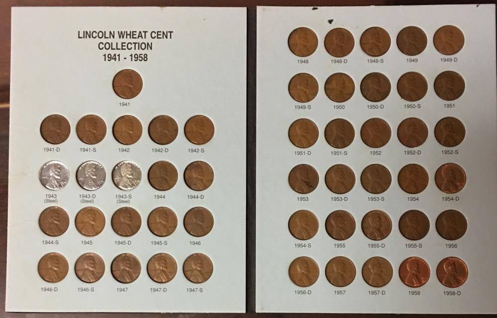 1941-1958 Lincoln Penny Set Album /& Coins