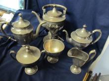 SCHOFIELD CO # 1900 STERLING LGE BEAUTIFUL ANTIQUE 6 PIECE COFFEE / TEA SERVICE