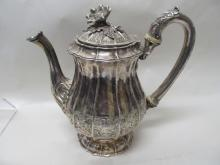KING GEORGE IV LONDON STERLING COFFEE POT 1824 WK  33.2 TROY OZ COATS ARMS