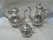 EUGEN FERNER ROSE 1964 STERLING 3 PIECE TEAPOT COFFEE SUGAR SET FINE QUALITY