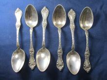 REED & BARTON LES CINQUE FLEURS STERLING SET 6 OVAL TABLESPOONS XLNT CONDITION