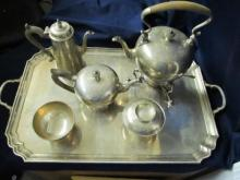ENSKO NEW YORK STERLING SILVER REPRODUCTION 1725 TEA SERVICE VERY FINE 5 PIECE