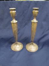 FINELY TOOLED STERLING FLOWER CANDLESTICKS 227S SLIGHT FLAWS 11 7/8
