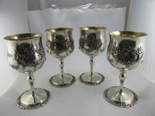 REED & BARTON FRANCIS 1ST 4 STERLING 570 A CHASED WATER GOBLETS XLNT CONDITION