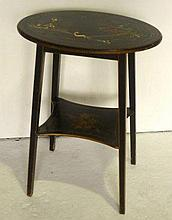 Chinese oval side table, the top painted in part
