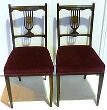 Pair of Edwardian bedroom chairs with red velvet