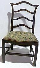 Georgian mahogany ladderback chair with tapestry