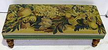 Long low foot stool with floral tapestry top,