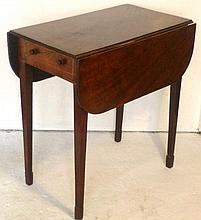 Mahogany pembroke table, twin flaps with rounded