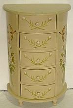 Compact semi-circular cream and floral painted