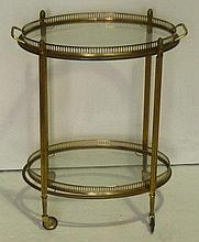 Brass drinks trolley on castors with oval lift-out