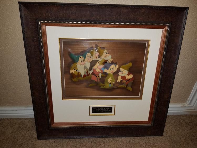 Snow White and the Seven Dwarfs Courvoisier Cel of the Seven Dwarfs Walt Disney Studios 1937