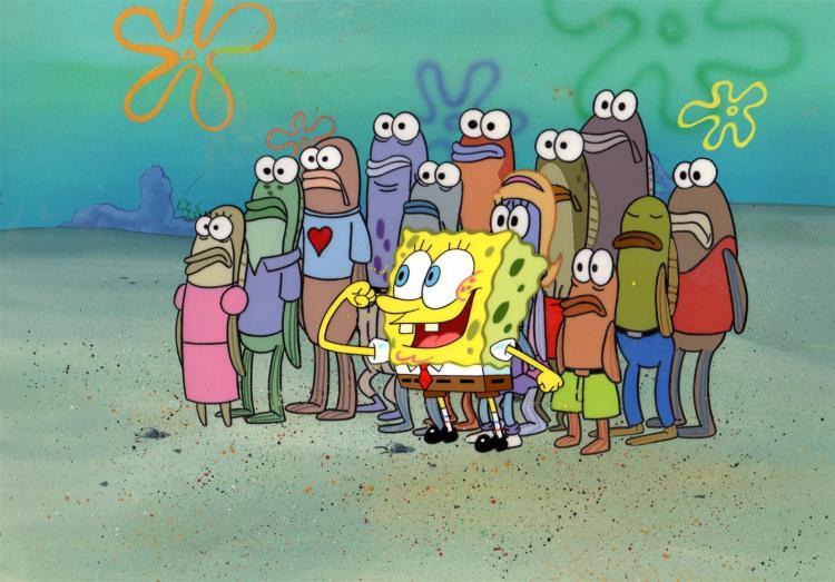 SpongeBob SquarePants Production Background and Cels 1999
