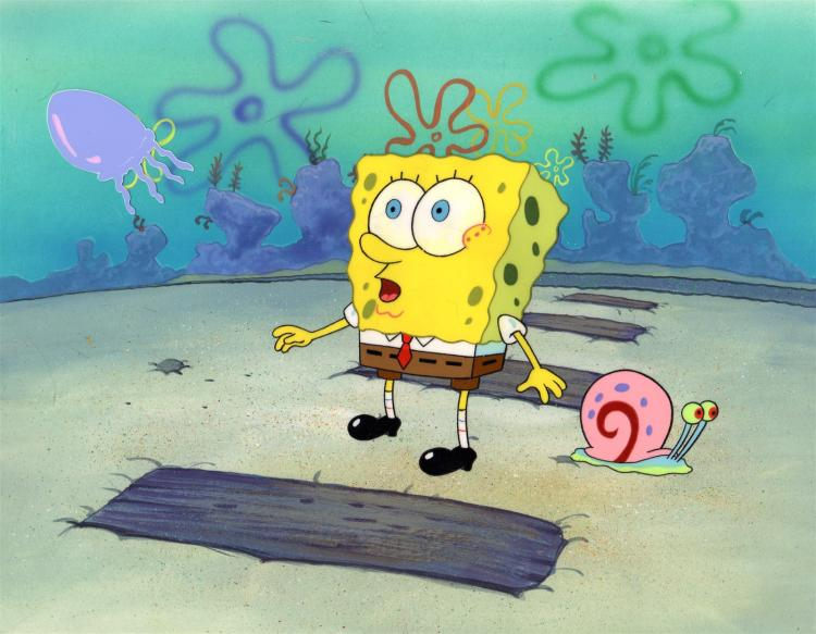SpongeBob Squarepants, Gary and a Jellyfish  Production Background and Production Cel 1999