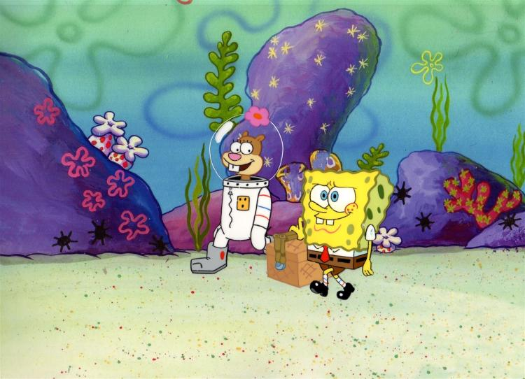 Sandy and SpongeBob Production Cartoon Cels 1999