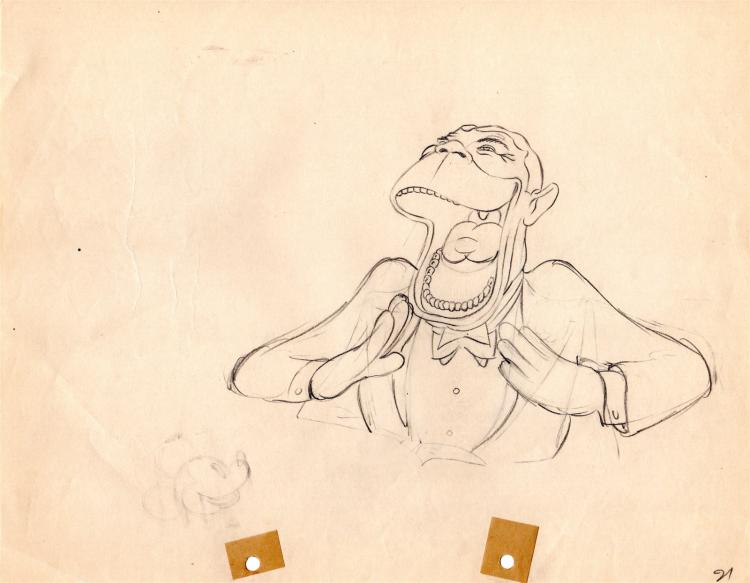 Walt Disney Studios Production Drawing of Joe E Brown 1930s