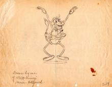 Clarabelle the Cow Early Walt Disney Character Production Drawing, Before 1935