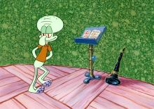 Squidward with his Instrument and Music Stand SpongeBob SquarePants Production Setup