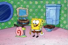 Production Background and Production Cel from 1999 SpongeBob SquarePants