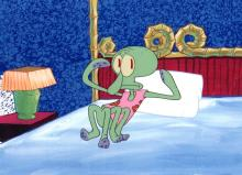 Squidward in his nightgown from  first season of spongeBob SquarePants