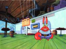 1999 production cel of Krabs inside the Krusty Krab.