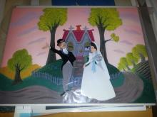 LITTLE HOUSE 1952 Master Production background and production cel from Walt Disney