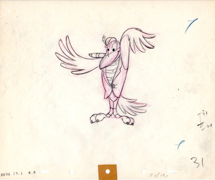 Disney Production Drawing of Crow from Dumbo 1942