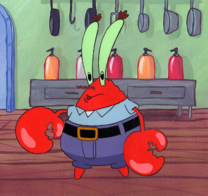 Krabs Production cel from SpongeBob SquarePants 1999