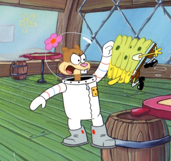Sandy taking charge of SpongeBob SquarePants Production cel 1999