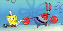 Krabs and SpongeBob from PICKLES production cel 1999