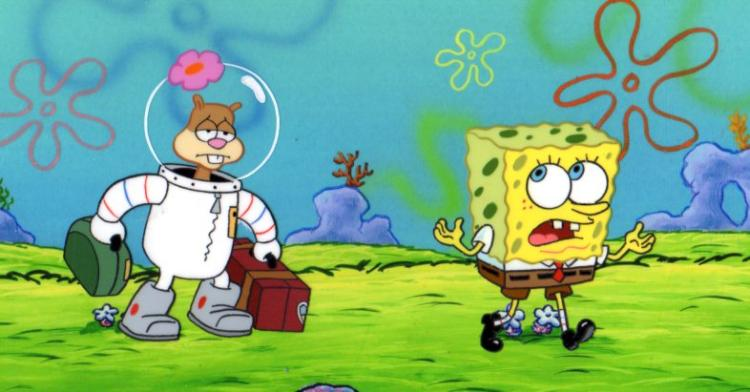 Sandy and SpongeBob from TEXAS production cel 1999