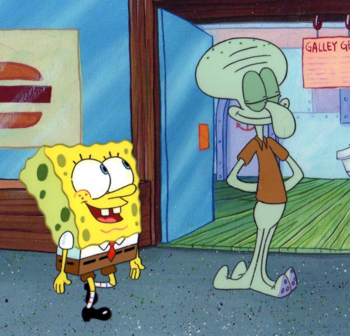 SpongeBob and Squidward production cels. 1999