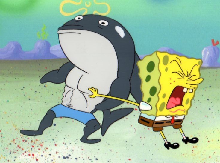SpongeBob and Shark from MUSCLEBOB BUFFPANTS 1999
